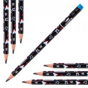 Ołówek szkolny trójkątny gruby z gumką HB JUMBO Tik Tok TALK Kidea (OTGNKA)