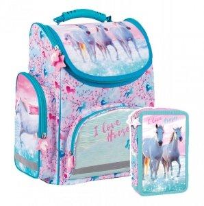 ZESTAW 2 el. Tornister szkolny ergonomiczny I LOVE HORSES Konie (TEMBKO22SET3CZ)