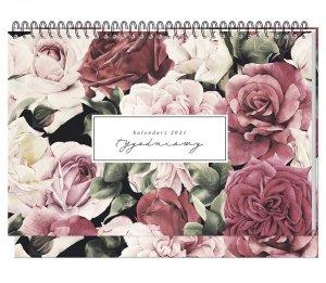 Kalendarz na biurko 2021 FLOWERS planer tygodniowy INTERDRUK (93305)