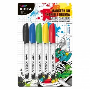 Markery do obuwia i tkanin 5 kolorów KIDEA (MOT5KA)