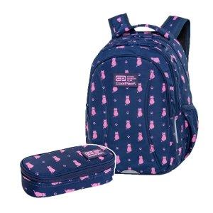 ZESTAW 2 el. Plecak wczesnoszkolny CoolPack JOY S 21L kotki, NAVY KITTY (C48240SET2CZ)