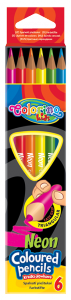 Kredki ołówkowe trójkątne NEONOWE, 6 kolorów COLORINO (33053PTR)