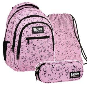 ZESTAW 3 el. Plecak szkolny młodzieżowy BackUP 26 L lisy, LOVE (PLB3O28SET3CZ)