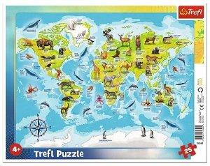 TREFL Puzzle Ramkowe 25 el. MAPA ŚWIATA ZE ZWIERZĘTAMI (31340)