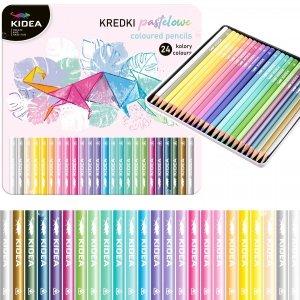 Kredki trójkątne pastelowe w metalowym pudełku 24 kolory KIDEA (KPTMP24KA)