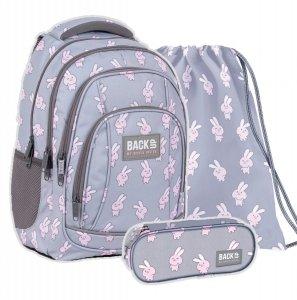ZESTAW 3 el. Plecak szkolny młodzieżowy BackUP 26 L KRÓLICZKI (PLB4A01SET3CZ)