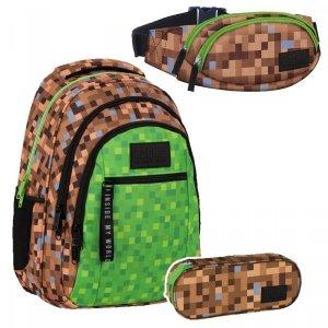 ZESTAW 3 el. Plecak szkolny młodzieżowy BackUP 26 L GAME dla fana gry MINECRAFT (PLB4O68SET3CZ)