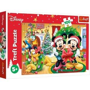 TREFL Puzzle 100 el. Myszka Mickey i Minnie, Magia świąt (16365)