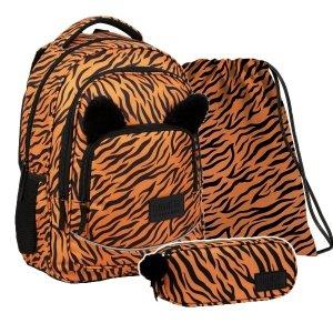ZESTAW 3 el. Plecak szkolny młodzieżowy BackUP 26 L TYGRYS z uszami (PLB3YA18SET3CZ)