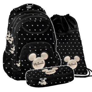 ZESTAW 3 el. Plecak szkolny młodzieżowy Myszka Minnie, MINNIE BLACK Paso (DIBL-2708SET3CZ)