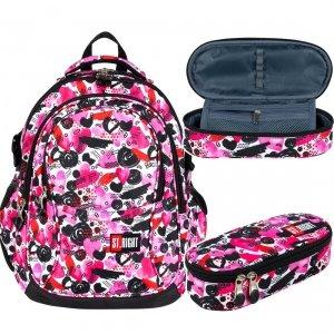ZESTAW 2 el. Plecak szkolny młodzieżowy ST.RIGHT w serca, HEARTS BP1 (25992SET2CZ)