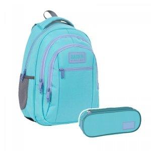 ZESTAW 2 el. Plecak szkolny młodzieżowy BackUP 26 L PASTELOWY TURKUS (PLB4O38SET2CZ)