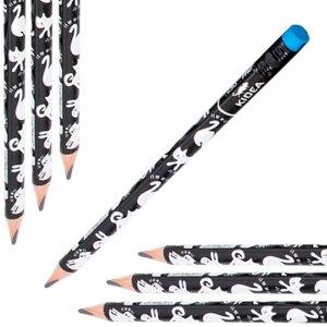 Ołówek szkolny trójkątny gruby z gumką HB JUMBO Koty KIDEA (OTGNKA)