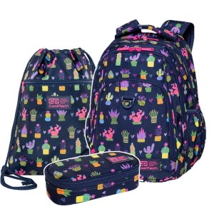 ZESTAW 3 el. Plecak CoolPack STRIKE L 27 L kaktusy, CACTUS (C18237SET3CZ)