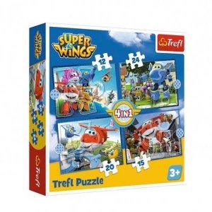 TREFL Puzzle 4 w 1 Super Wings, Odlotowa paczka (34351)