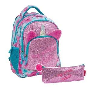 ZESTAW 2 el. Plecak szkolny młodzieżowy BackUP 24 L BROKATOWY JEDNOROŻEC (PLB3Y57SET2CZ)