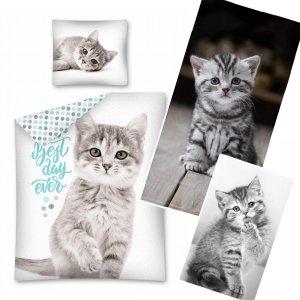 ZESTAW 3 el. Komplet pościeli pościel CAT Kotek 160 x 200 cm + RĘCZNIK KĄPIELOWY + DZIECIĘCY (2870SET3CZ)