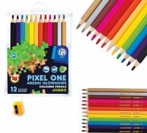 Kredki ołówkowe okrągłe JUMBO 12 kolorów z temperówką PIXEL dla fana gry MINECRAFT  ASTRA (312221005)