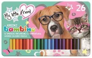 Kredki BAMBINO w oprawie drewnianej 26 kolorów w metalowym pudełku My Little Friend (25077)