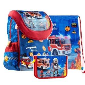 ZESTAW 3 el. Plecak dziecięcy PLAYMOBIL Strażak PL-02 (502020013SET3CZ)