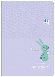 Zeszyt A5 w kolorową linię 16 kartek B&B RABBIT króliczek (55563)