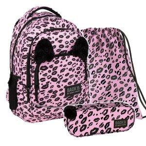 ZESTAW 3 el. Plecak szkolny młodzieżowy BackUP 26 L PANTERKA z uszami (PLB3YA17SET3CZ)