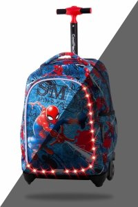Plecak CoolPack JACK LED na kółkach Spiderman na niebieskim tle, SPIDERMAN DENIM (B52304)