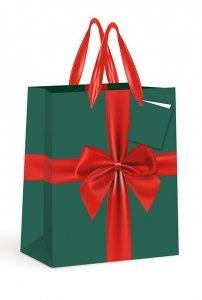 4x Torebka świąteczna duża na prezent KOKARDA MIKOŁAJ PIERNICZEK RENIFER Interdruk (92308)