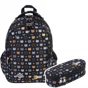 ZESTAW 2 el. Plecak szkolny ST.RIGHT złote kotki, GOLDEN CATS BP58 (38190SET2CZ)
