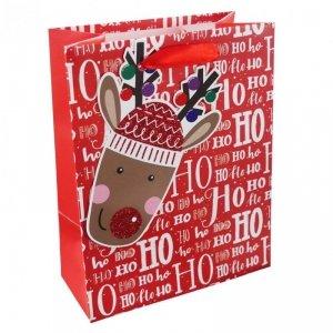 Torebka świąteczna na prezent HO HO HO Incood. (0071-0313)