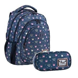 ZESTAW 2 el. Plecak wczesnoszkolny HASH 24 L korony, PRINCESS (502020080SET2CZ)