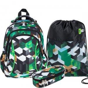 ZESTAW 3 el. Plecak wczesnoszkolny ST.RIGHT w zielone klocki 3D, GREEN 3D BLOCKS BP26 (26272SET3CZ)