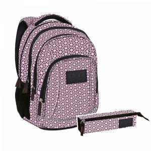ZESTAW 2 el. Plecak szkolny młodzieżowy BackUP czarne wzory, ŚRUBKI (PLB2A02SET2CZ)