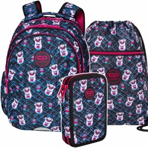 ZESTAW 3 el. Plecak wczesnoszkolny CoolPack JOY S 21L pieski, DOGS TO GO (D048322SET3CZ)