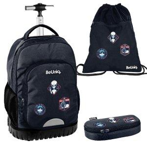 ZESTAW 3 el. Plecak szkolny, młodzieżowy na kółkach kosmici, UFO Paso (PPUF20-1231SET3CZ)