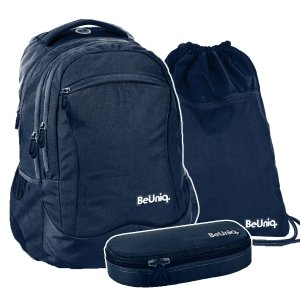 ZESTAW 3 el. Plecak szkolny młodzieżowy granatowy, NAVY Paso (PPNY20-2808SET3CZ)