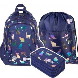 ZESTAW 3 el. Plecak wczesnoszkolny ST.RIGHT kotki, HOLO CATS BP26 (39371SET3CZ)