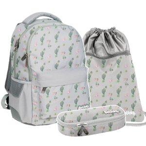 ZESTAW 3 el. Plecak szkolny młodzieżowy kaktusy i flamingi, WEST Paso (PPWE20-2705/16SET3CZ)