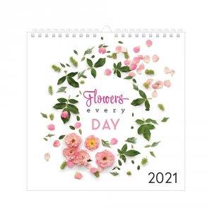 Kalendarz ścienny planszowy KWIATY 2021 (72850)