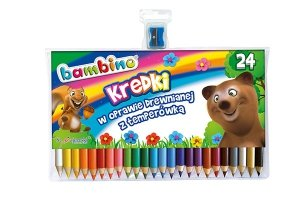 Kredki BAMBINO w oprawie drewnianej 24 kolory + temperówka (00447)