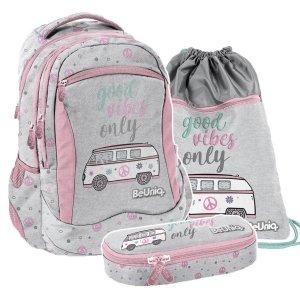 ZESTAW 3 el. Plecak szkolny młodzieżowy BUS Paso (PPBU20-2808SET3CZ)