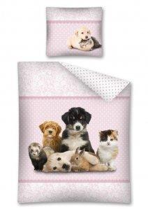 Komplet pościeli pościel SWEET ANIMALS Pies Kot Psy Koty 160 x 200 cm (2803)