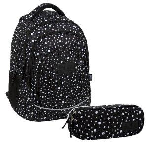 ZESTAW 2 el. Plecak szkolny młodzieżowy BackUP 26 L KROPKI (PLB3A01SET2CZ)