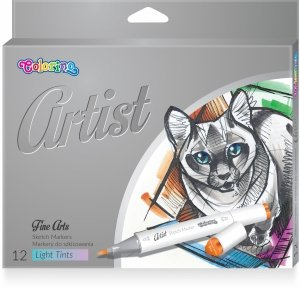 Markery dwustronne do szkicowania COLORINO Artist 12 kolorów PASTELOWE (81100)