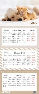 Kalendarz ścienny trójdzielny ZWIERZAKI Kotek Piesek 2022 (01116)