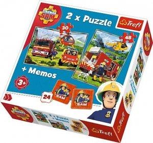 TREFL Puzzle 2w1 + memo Strażacy w akcji, Strażak Sam (90791)