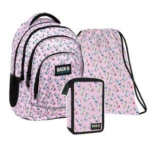ZESTAW 3 el. Plecak szkolny młodzieżowy BackUP 26 L jednorożce, UNICORN PASTELE (PLB3A70SET3CZ)
