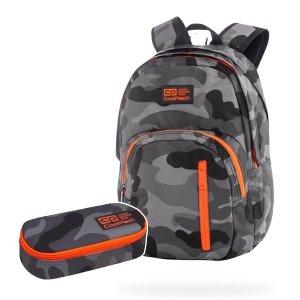 ZESTAW 2 el. Plecak CoolPack DISCOVERY 27 L moro z pomarańczowymi dodatkami, CAMO ORANGE NEON (77578SET2CZ)