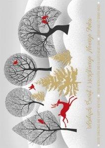 Kartka świąteczna firmowa BOŻE NARODZENIE 12 x 17 cm + koperta (47553)