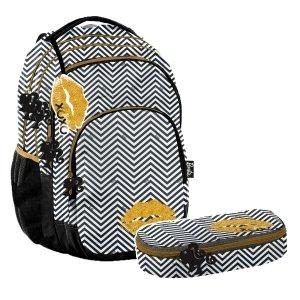 ZESTAW 2 el. Plecak szkolny młodzieżowy BARBIE LIPSTICK Paso (BALP-2706SET2CZ)
